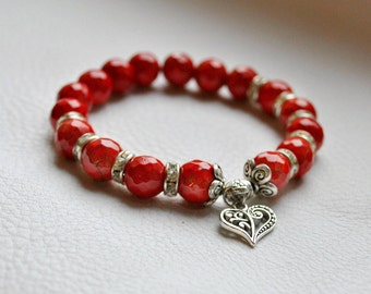 Coral Jewelry, red coral,bohemian bracelet,turguoise bracelet ,summer bracelet,fashion jewelry,bracelet natural stone,heart pendant