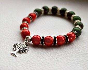 Quartz Jewelry,red coral,bohemian bracelet,green bracelet,summer bracelet,fashion jewelry,bracelet natural stone,tree pendant
