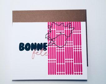 HAPPY birthday - greeting card-birthday-greeting card-stationery-handmade-screen printing-laser cutting-3D