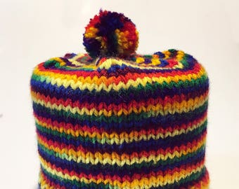 Rainbow Color Toilet Paper Cozy / Tissue Dust Cover / Knitted, with Pom Pom / Primary Colors