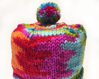 Multi Color Toilet Paper Cozy / Tissue Dust Cover / Knitted, with Pom Pom / Houswarming / Party gift