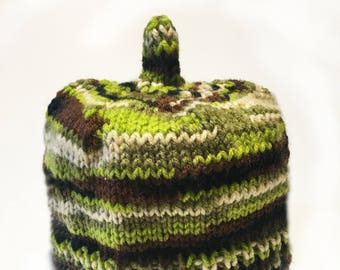 Multi Color Toilet Paper Cozy / Tissue Dust Cover / Knitted / Housewarming Gift / greens
