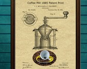 Coffee Mill Patent Print Art, Coffee Grinder Wall, Vintage Coffee Print, Antique Coffee Grinder, Coffee Poster Vintage, Coffee Lovers Gift