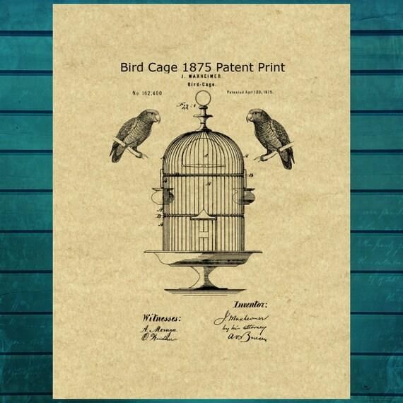 Bird Cage Patent Print Art Bird Cage Decor Vintage Bird Etsy