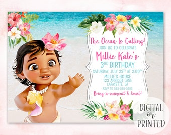 Moana Birthday Invitation Baby Printable Digital Printed