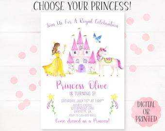 princess invitation princess birthday girls birthday invitation princess birthday invitation princess party choose your princess