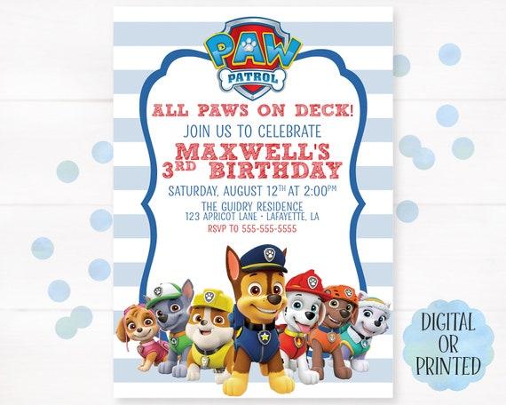 Paw Patrol Birthday Invitation Boy