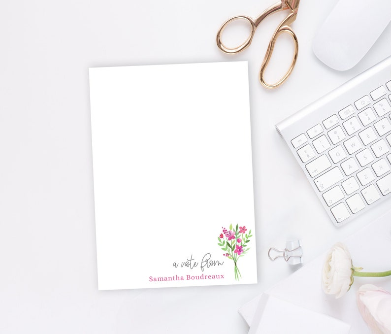 Personalized Notepad 5x7 or 8x10 Floral Stationery Custom a note from spring