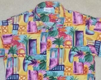 Vintage 90s Bright Palm Tree Tropical Print Short Sleeve Button Front Shirt Size Medium