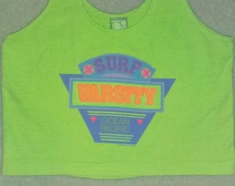 80s Neon Day Glo Ocean Pacific Surf Varsity Crop Top Size Small