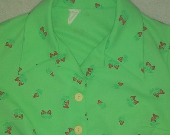 Vintage 70s Lime Green Strawberry Print Jacket XL