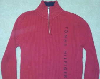 9d80527f5 Vintage Tommy Hilfiger Quarter Zip Sweater Lg.