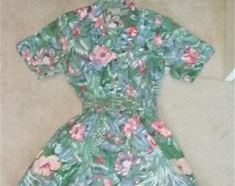 c7d6e5d55a0 Vintage 80s Floral Jungle Print Summer Dress Size 12