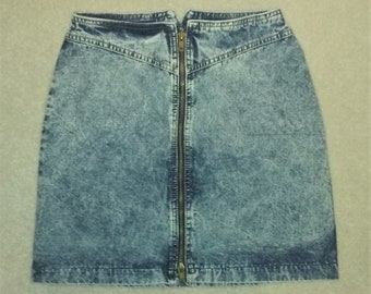 Vintage Frederick's of Hollywood Acid Wash Zip Front Mini Skirt Size 5/6