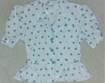 Vintage Audrey Celine Teal Polka Dot Peplum Blouse Size 5/6