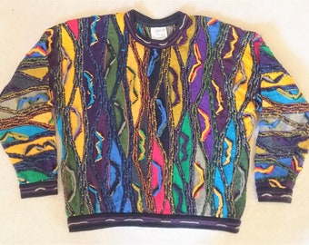 Coogi Sweater Bright Colors Cotton Size Large