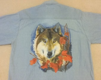 cde972881 90s Wolf Graphic Blue Jean Shirt Lg.