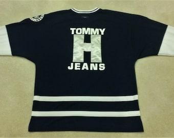 6138deaf 90s Tommy Hilfiger Embroidered Jersey XL