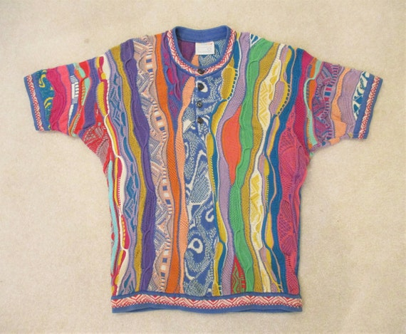 90s Coogi Colorful Henley Sweater Large