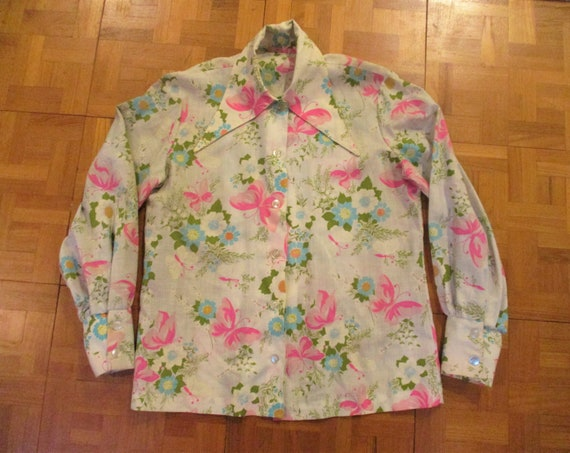 70s Long Collar Butterfly Floral Shirt