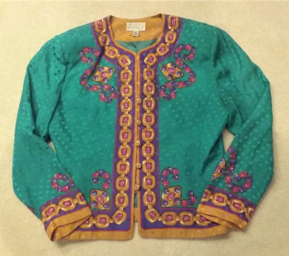 60ad248c1d111 Vintage Silk Teal Gold Chain Print Colorful Jacket Size 16