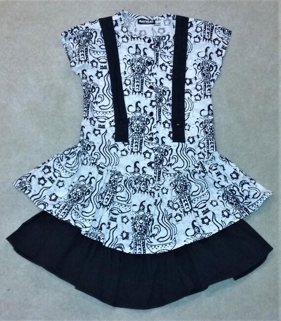 80s Black/White Suspender Dress 7