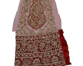 Indian Culture Vintage Red Decor Fabric Antique Embroidery Dabka Zircons Floral Decor Craft