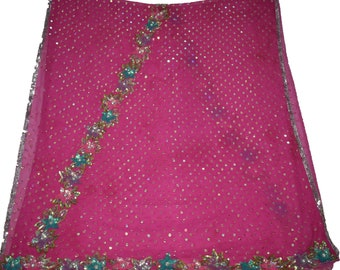 Qualified Vintage Sari Border Antique Hand Beaded Indian Trim Sewing Pink Zari Lace Punctual Timing Linens & Textiles (pre-1930)