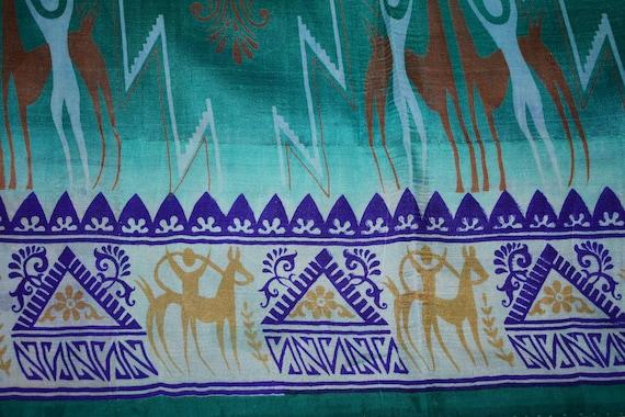 Saree vert 100 % Warli Pure soie Warli % Sari impression Design artisanat tissu imprimé Vintage 1cd7b3