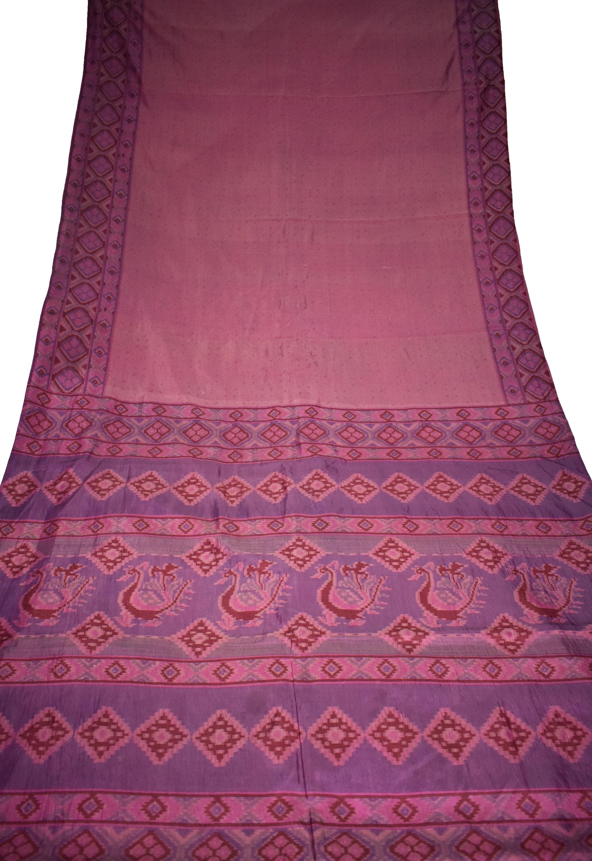 Saree double ombre rose/violet 100 artisanat % Pure soie de Sari Floral Print Design artisanat 100 tissu imprimé Vintage b788a5