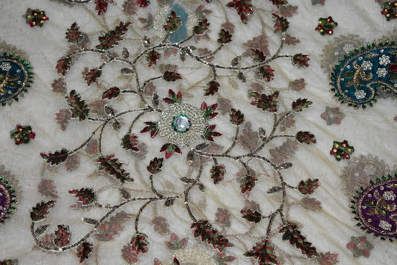 Antiques Qualified Vintage Sari Border Antique Hand Beaded Indian Trim Sewing Pink Zari Lace Punctual Timing Embellishments & Finishes