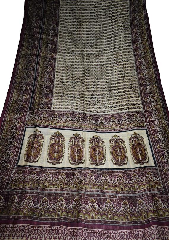 Vintage Printed Saree Brown100/% Pure Silk Floral Print Sari Design Craft Fabric