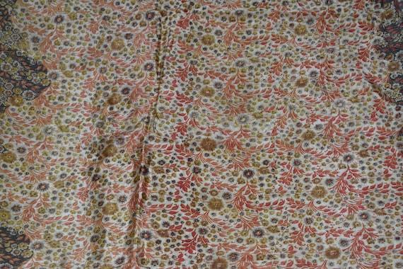 Robe imprimée Design Saree mélange soie tissu Sari Beige Floral Print Design imprimée vintage fabrication artisanale tissu 98e218