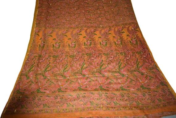 Sari jaune Print Georgette Sari Floral Print jaune Design artisanat tissu imprimé Vintage e684a6