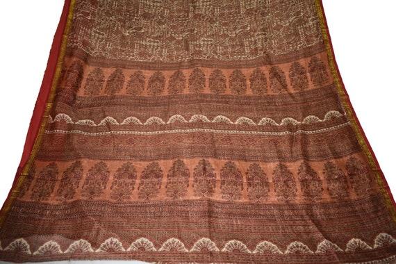 Vintage imprimé Saree robe 100 % Floral tissu Pure soie artisanat Sari marron Design Floral % et Paisley fabrication de tissu 48a6ca