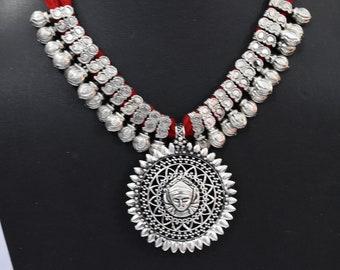 Saisha Jewels German Silver Oxidized Pendant Thread Chain Necklace
