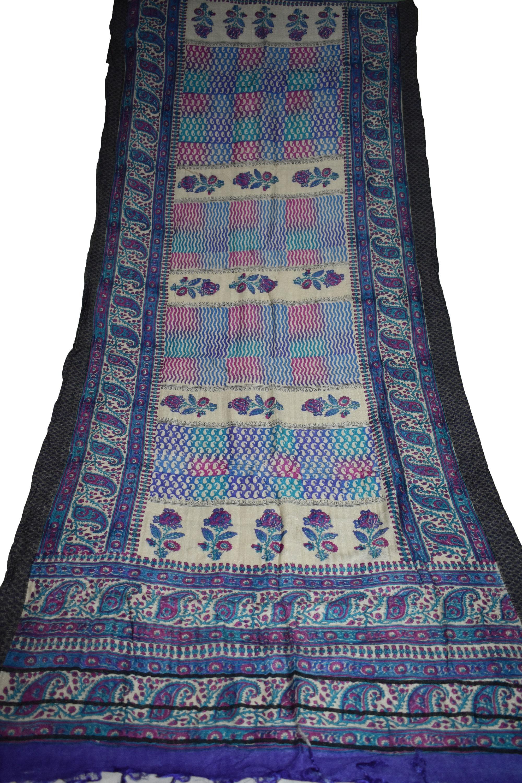 Indienne Vintage gris en travail laine châle tissé travail en longue étole  foulard doux Floral 8a79ee 6ac53739036