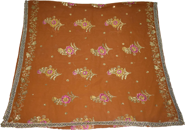 03d8b58d9af0 Georgette brun Vintage indiennes Dupatta la Antique à la Dupatta main en  perles étole brodée voile