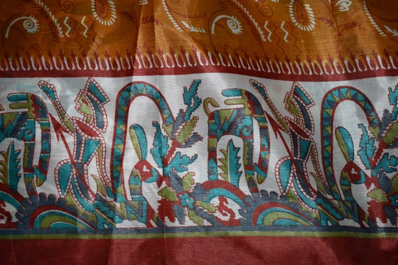 Saree Orange Orange Saree mélange soie de Sari impression mythologique conception d'impression artisanale tissu imprimé Vintage 429f4a