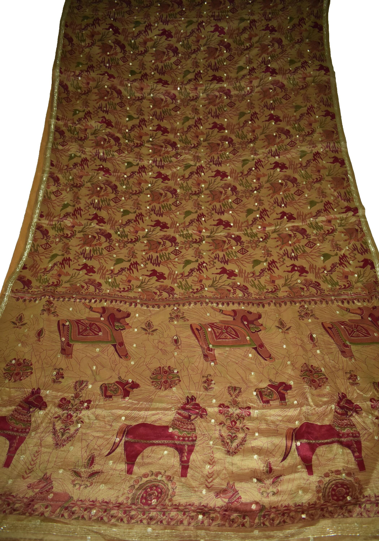 Saree 100 % tissu Pure soie Sari Sari Sari marron cheval et l'oiseau conception d'impression robe fabrication artisanale tissu imprimé Vintage 344b35