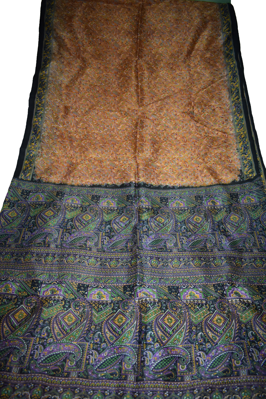 Saree Orange/noir 100 % de Pure soie de % Sari Floral Print Design artisanat tissu imprimé Vintage cbd58a