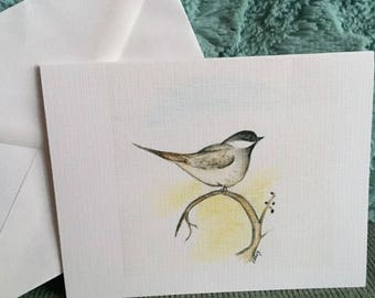 Chickadee watercolor note cards
