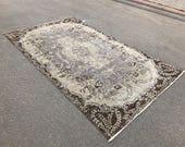 267x154,Anatolian Turkish Rug,Gray rug,Bohemian rug,Oushak vintage rug,Area rug,Turkish vintage rug,Floor rug,Home decor,overdyed Rug,wool r