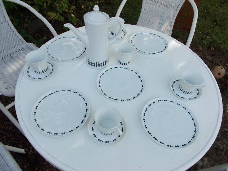 with coffee can Sahnek\u00e4nnnchen and additional platter Melitta Paris Lancet Coffee Service for 4 persons