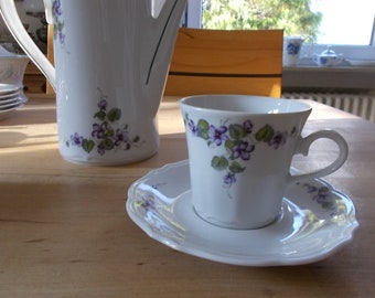 Coffee cups with lower, violet decorated. Winterling