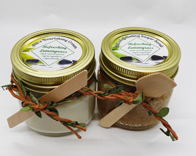 Nourishing Cream and Exfoliating Sugar Scrub Set