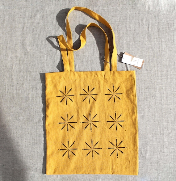 Eco Tote Bag Custom Linen Tote Bag Market bag Shopping Bag hand painted Zentangle Cotton Tote bag stamp Linen Tote made in spain