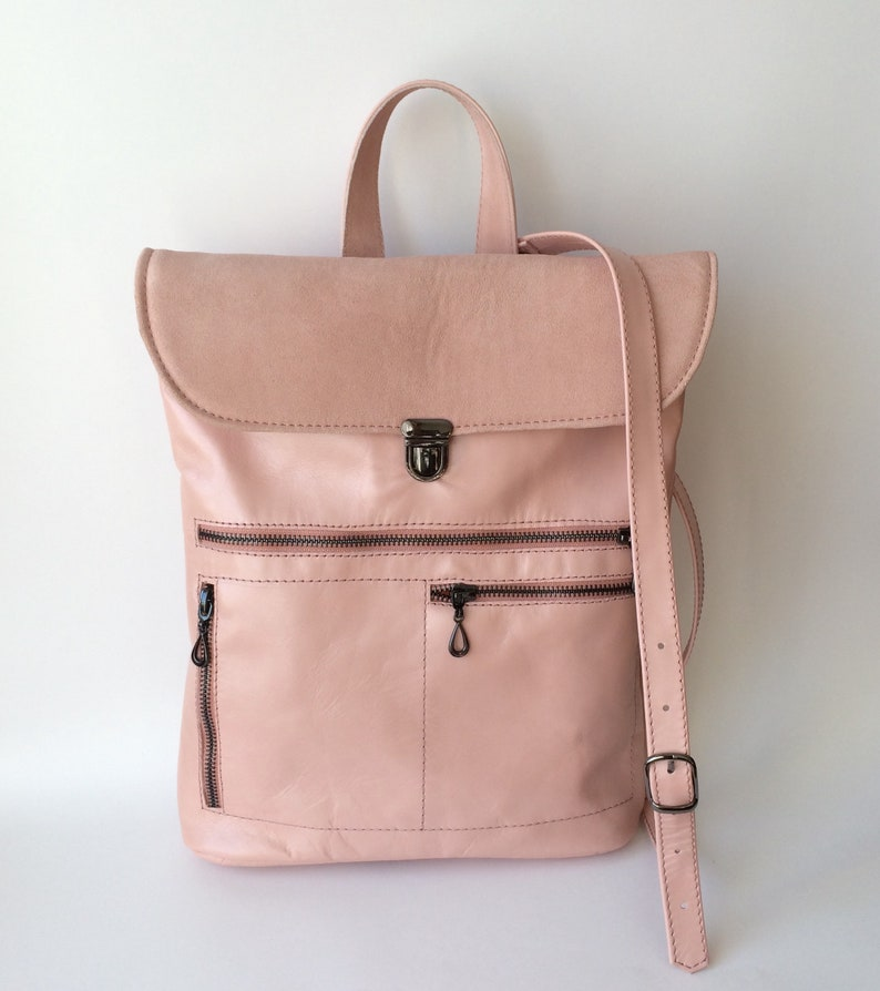 c337c41565 LITTLE Leather Backpack Purse Pink Nude leather bag Pink