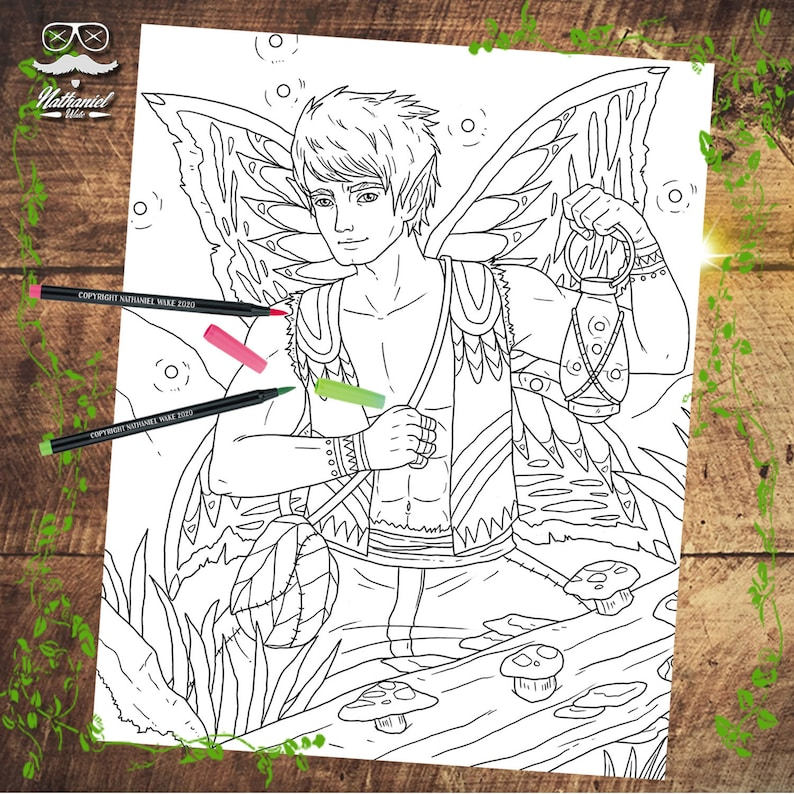 5 Male Fairy Favorites Adult Fay Coloring Pages Handsome ...