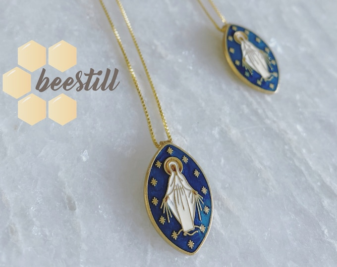 Featured listing image: Dark Blue Enamel Miraculous Medal, Mary, on 14k gold chain